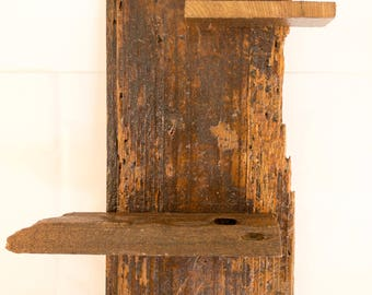 Reclaimed Wood wall hanging with two shelves