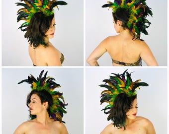 Mardi Gras Feather Mohawk Headdress