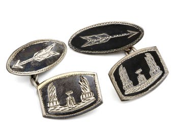 Silver Enamel Mens Cufflinks, Antique 1940s Mens Jewelry, Niello Siam Cufflinks, 925 Sterling Silver & Black Enamel, The Democracy Monument