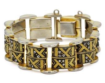 Spanish Damascene Bracelet, Antique 40s Bangle, Gold Black Silver, European Jewelry, Niello Jewelry, Two Row Bracelet, Retro Enamel Jewelry