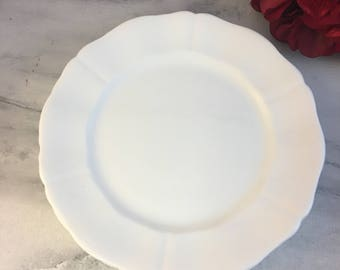 "Set of Four Royal Adderley Dessert Plates 7.75"" All White Gentle Scallop Lovely Condition England Made Discontinued"