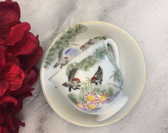 Birds on a Branch Demitasse Tea Cup and Saucer Handpainted Japan Made teacup