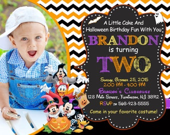 Mickey Mouse Halloween Invitation Birthday Party Mickey And Friends Invitation