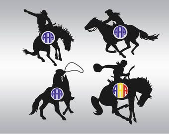 cowboy rodeo monogram SVG Clipart Cut Files Silhouette Cameo Svg for Cricut and Vinyl File cutting Digital cuts file DXF Png Pdf Eps
