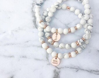 Rose Gold Initial Marble Bracelet