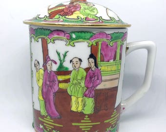 SALE // FREE SHIPPING - Cheeky China,Hand Painted Chinese Tea and Coffee Mug with Lid