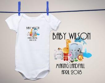 Baby Announcement Onesie 0-24m Noahs Ark Baby Announcement Pregnancy Announcement First Grandchild Bodysuit Baby Shower Gift