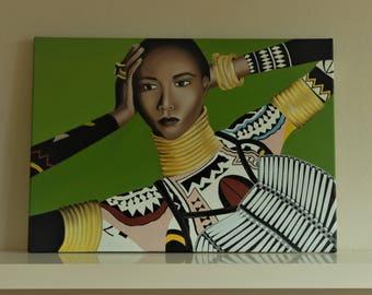 Colorful african women / Original oil panting