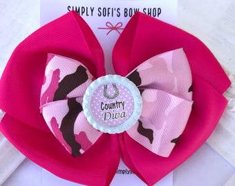 Cowgirl hair bow, cowgirl bow, western theme, cow print