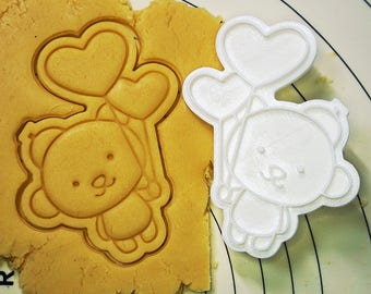 Bear Holding Heart Balloons Cookie Cutter and Stamp