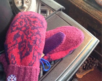 Jewel tone sweater  mittens , ladies medium
