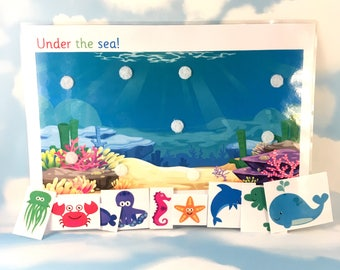 Under the sea scene with removable pieces, Nursery, Pre-school, Interactive play, early years, Visual learners, PECS, Children's development