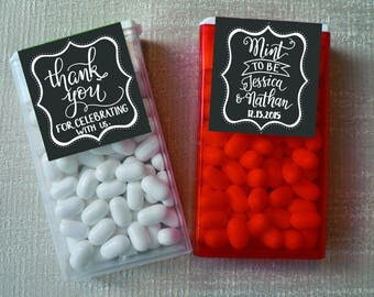 Custom Hand lettered Tic Tac Labels Mint To Be- printable Wedding Favors label chalkboard, rustic Leaf Folium