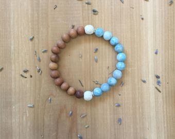 Essential Oil Diffuser Bracelet, Larimar Beads, Sandalwood Beads, White Lava Beads, Aromatherapy Jewelry