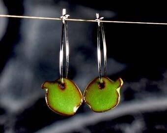 "Ceramic earrings ""pear"" green/ red"