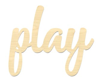 Play Sign- Play Laser Cut Out Wording- Playroom Decor