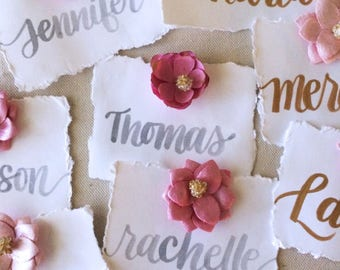 Deckle edge placecards, flower place cards, Deckle edge seat cards, Beaded Flower Wedding Placecards, Food label, food tent - 12 per order