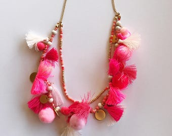 Pom pom tassel necklace- pink