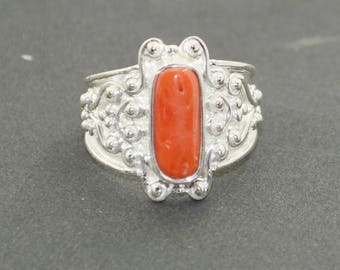 dishy Rose Gold Coral Gems Sterling Silver Ring handmade  gift