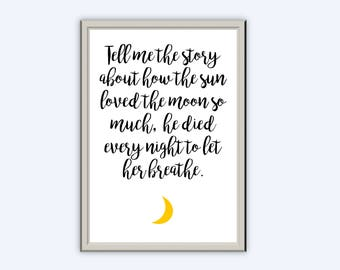The Story Of The Sun And The Moon // Typography Print // Wall Art // Home Decor // Nursery Child Children Kids Room // A3 A4 A5