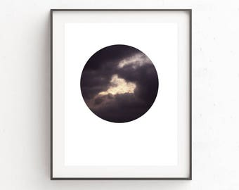 Clouds Wall Art, Instant Download Printable Art, Digital Download, Clouds, Blue Print, Circle Print