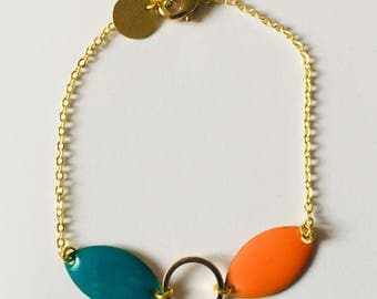 Shades of green teal and orange chain Gold Bracelet