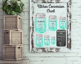 kitchen conversion chart, meat temperature chart, kitchen decor , mason jars, water color, 11x14