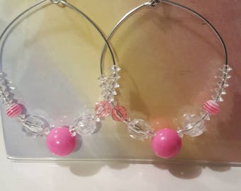 Ladies Large Hoop earrings/chunky/Pretty Pink/jewelry