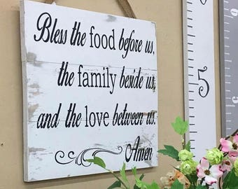 Blessing Sign - Religious Sign - Meal Blessings - Bless The Food Before Us - Family blessings