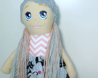 Textile doll, Handmade doll, Fabric doll, Soft doll, Cloth doll, Rag doll, Handpainted face