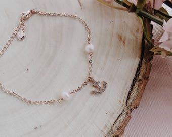 By The Sea Bracelet, Anchor Bracelet, Fresh Water Pearl Bracelet, Pink Pearls, Rose Gold, Gift