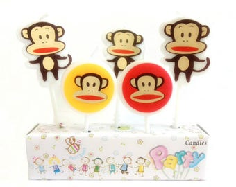 Cute Big Mouth Monkey Candles 5pcs|Animal candles|Centerpiece|Cake toppers|Zoo decoration|Prince boy 1st first birthday|Kid celebration