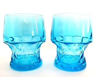 Vintage Fenton Georgian Aqua Blue Tumblers | Juice Glasses Honeycomb Stem #1611 Stackable Turquoise Glass