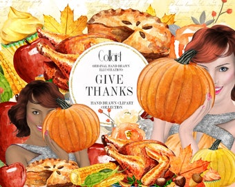 Thanksgiving Clipart Illustrations, Autumn clip art, watercolor fall clipart fashion illustrations, thanksgiving illustrations, planner girl