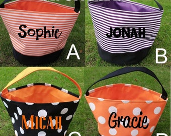 Halloween Bags - Personalized, Trick or Treat Totes, Monograms, Names, Designs, Plain, Halloween Pails, Polka Dots, Stripes