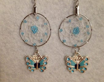 Blue Butterfly Dreamcatcher earrings