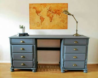 NOW  SOLD * Beautifully hand painted office/ study desk/ office furniture/ study furniture/ wooden desk