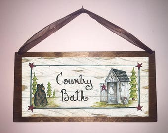 12x6 Country Bath Bears Stars Home Decor Bathroom Sign with Choice of Black Wire or Brown Ribbon for Easy Hanging