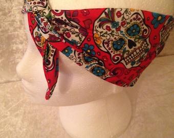 Handmade Red Sugar Skull Headband