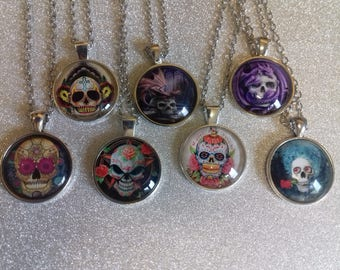 Skull/ day of the dead necklaces/skull pendants/gothic/steampunk necklace