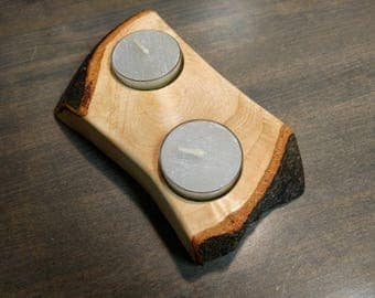 Rustic Live Edge Wood Tea Light Candle Holder