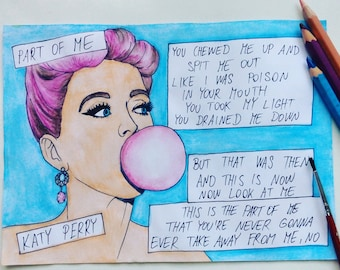 Comics painting of Katy Perry - Part Of Me