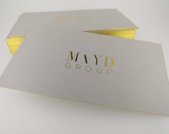 Luxury Gray Business Card Design and Print, Business Card with gold foil stamping and gold edge