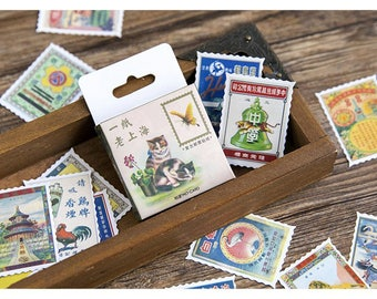 46 pcs/box vintage stamps - Japanese used paper sticker decoration DIY diary scrapbooking gift card sticker children's favorite stationery