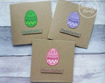 Handmade Easter cards, Individual or pack of Easter cards, Easter Egg card, Decorated Easter Egg card, Pink Easter Egg card, Cards with gems