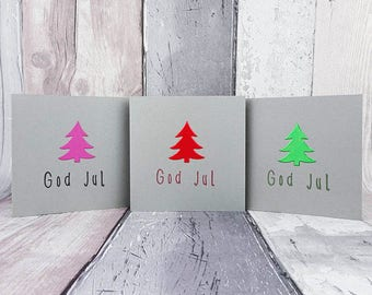 God Jul Christmas Tree cards, Handmade Scandinavian Christmas cards, Colour choice, Danish, Norwegian, Swedish, Custom message, Foiled card