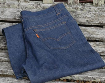 True vintage 1970s deadstock Levis flared jeans, workwear