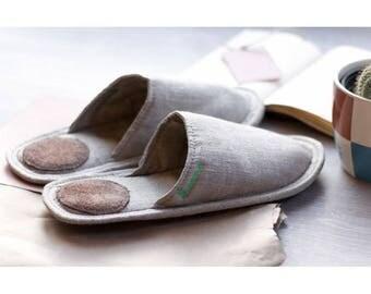 Women slippers, linen slippers for women, gift slippers, light slippers, closed toe slippers, gray slippers for women, women's house shoes
