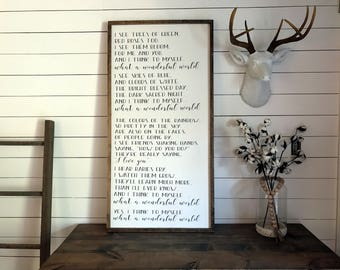 What a Wonderful World - Louis Armstrong Lyrics Sign | Family Sign | Framed Sign | Wood Signs| Farmhouse Decor | Family Room Sign