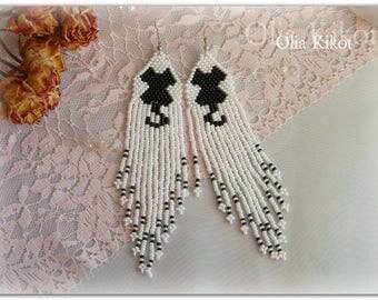 SALE Long earrings from Czech beads ittens Original black and white earrings cats summer earrings long airy day valentine gift earrings gift